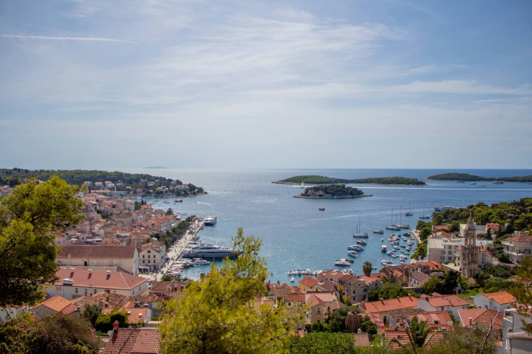 view over hvar old town from above