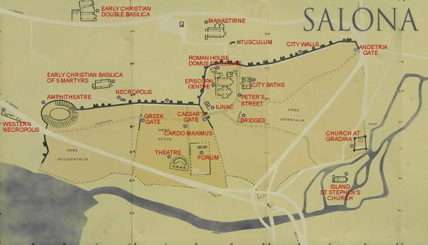 map of salona roman ruins