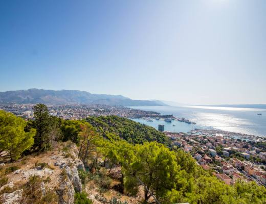 view over split old town and harbour from marjan park