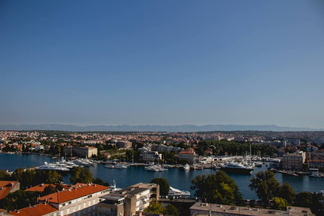 view of zadar from bell tower lookout
