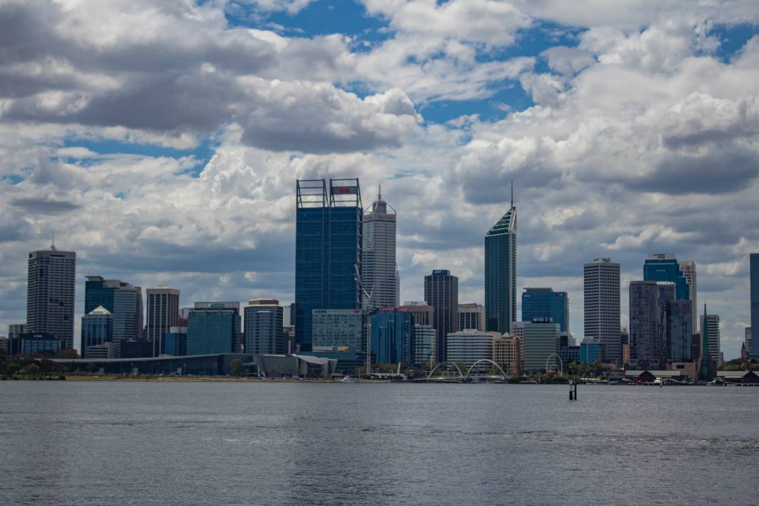 view of perth skyline from south foreshore across river
