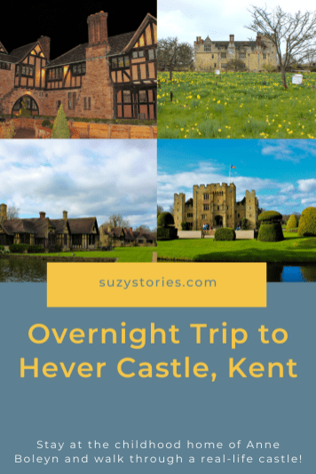 Collage of exterior photos of Hever Castle with title text overlay