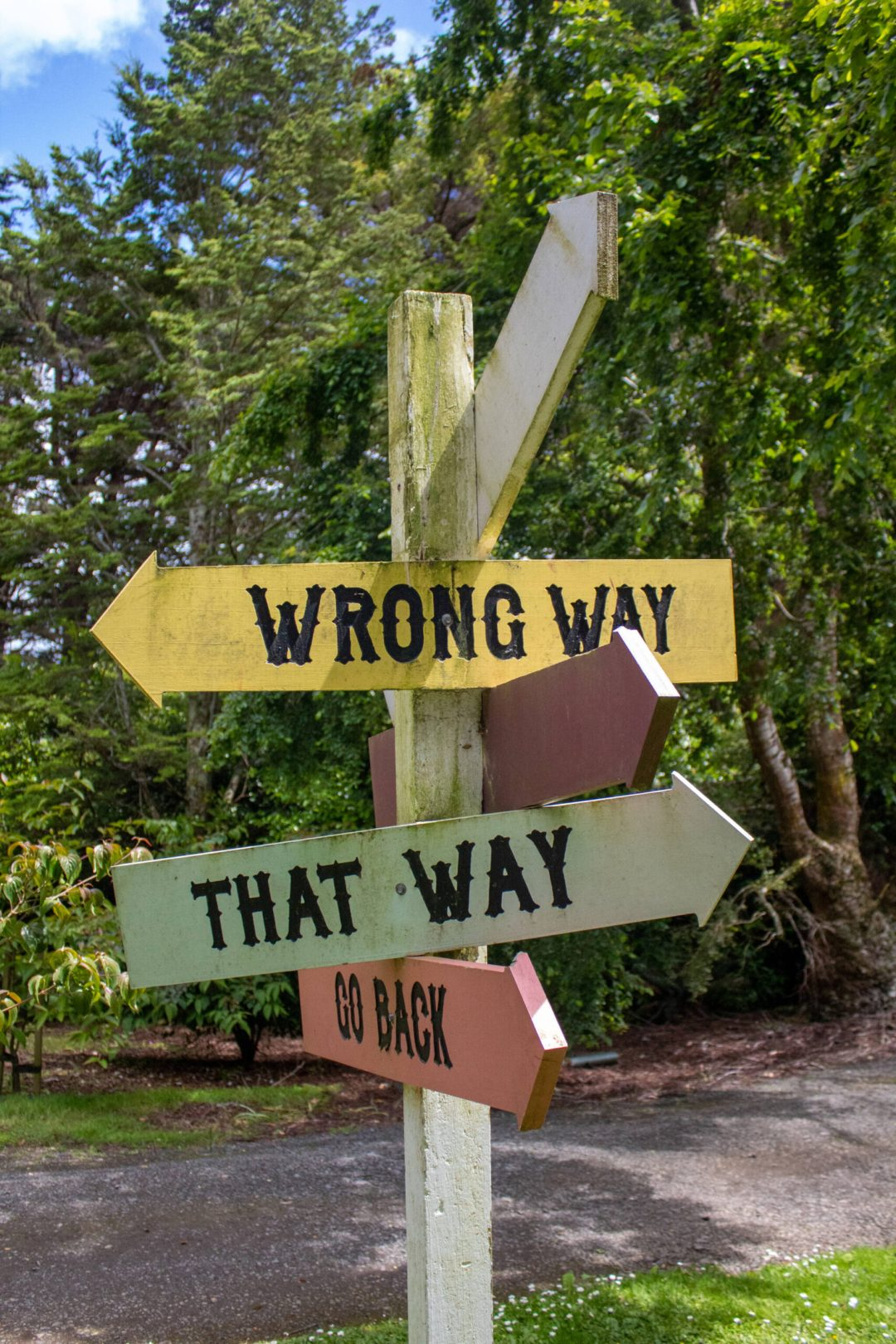 Quirky multicoloured sign saying wrong way, that way, go back at Larnach Castle