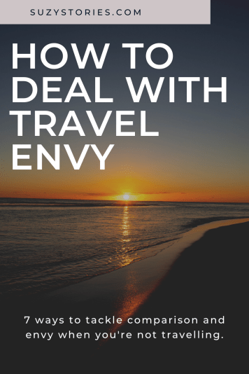 A sunset over a still ocean and beach with title text overlaid