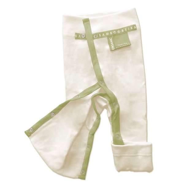 bamboo green color sustainable Baby Trousers - full open legs for easy dressing