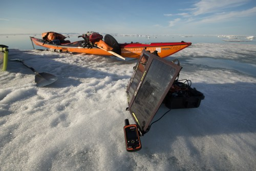 mid float on an iceberg our inReach is charging from GoalZero Sherpa100 battery system and Nomad 20 Solar panels