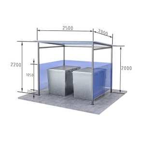 контейнерная площадка для двух мусорных баков Сварка Люкс