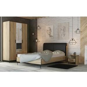 Кровать Лофт двуспальная интерьер Сварка Люкс