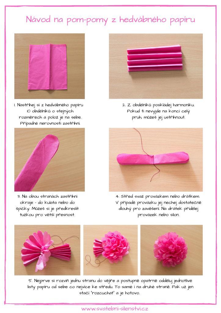 fotonávod na výrobu pompomu z hedvábného papíru