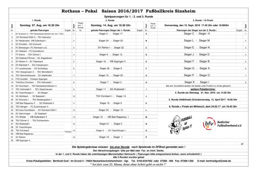 Spielplan Rothaus-Pokal 16-17