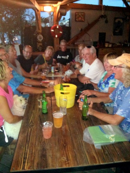 Salty Dawgs enjoying happy hour at Lagoonies in the St Maarten lagoon