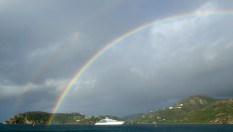 Looking out to the point in Falmouth with a typical morning rainbow