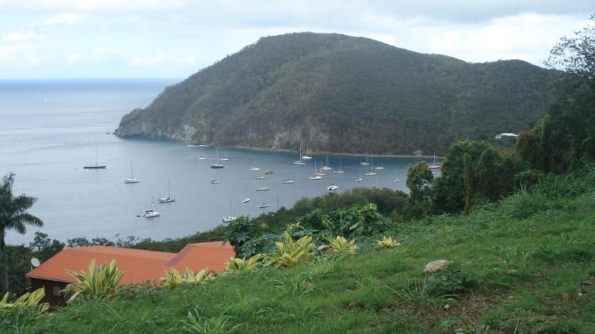 Deshaies harbor from the botanical garden