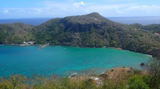 Marigot Bay on the other side of Fort Napolean. Bit of a hike straight up