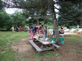 Picnic tables and straw bales