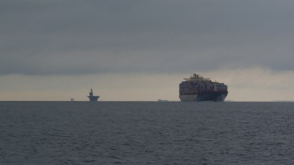 Normal parade of ships entering the Chesapeake