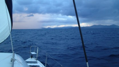 Land Ho! Tortola being covered by a squall in the morning.