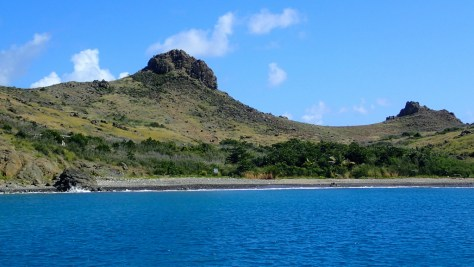 The rocky beach and rugged terrain at Ile Fourche