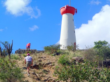 Climbing to the lighthouse and old Fort Gustave