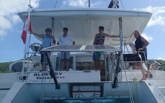 Blue Sky crew in BVI, left to right, Elisabeth, Dennis, Titan, Charlie, Paul