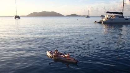 Keith kicked back with Jost Van Dyke in the background