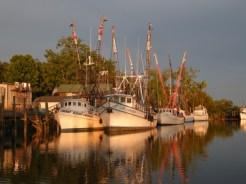 shrimp boats in evening light