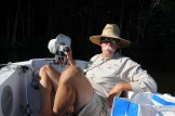 relaxed at dinghy helm