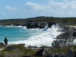 wave action, east side of Warderick Wells