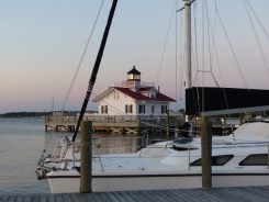 Cheshire on the Manteo Waterfront, Roanoke Marshes Light behind