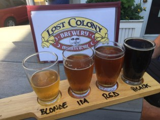 sampling at Lost Colony Brewery, Manteo