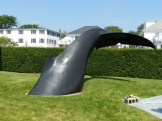 whale tail sculpture, Edgartown waterfront