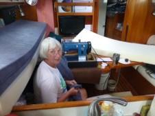 Judy working on the van cushions