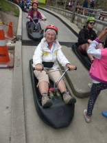 Luge Cart - Judy at the start of a luge track.