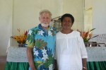 Lanieta – Steve and Vice Chiefs wife at church service with the flowers she arranged