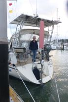 Judy with Code Blue at the Opua quarantine dock notice the yellow q-flag