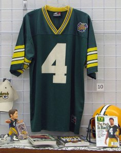 Brett Favre number 4 merchandise including Green Bay Packer jerseys, helmets, hats and books for sale at St. Vincent de Paul's Fond du Lac.