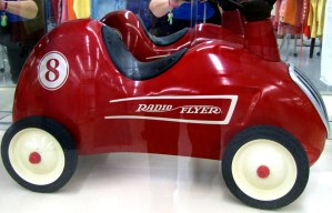 Number 8 Red Radio Flyer for sale at St. Vincent de Paul's Fond du Lac.