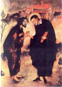 St. Vincent de Paul meets the Beggar, Christ.