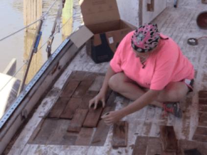 Deb marking mahogany for deck core