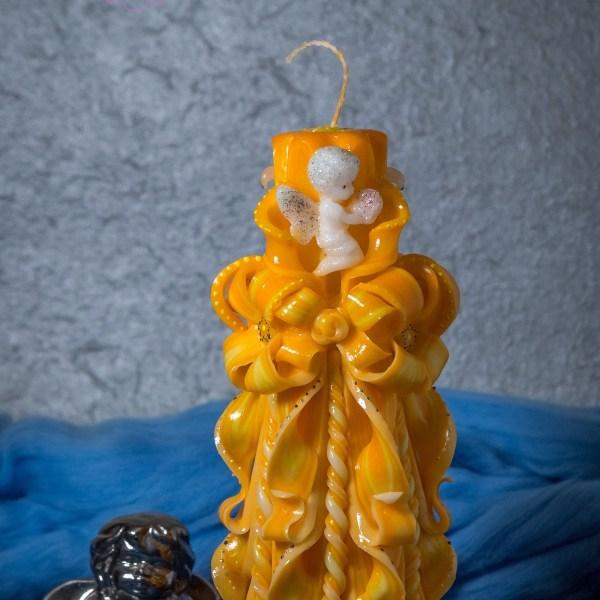 свеча резная с ангелом высотой 22 см
