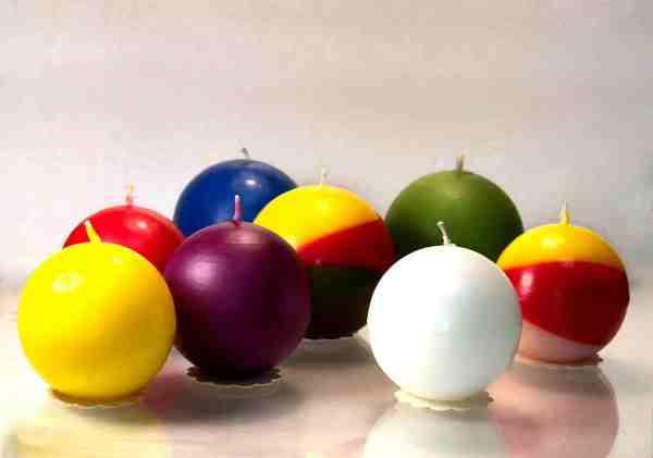 свечи шары разных цветов