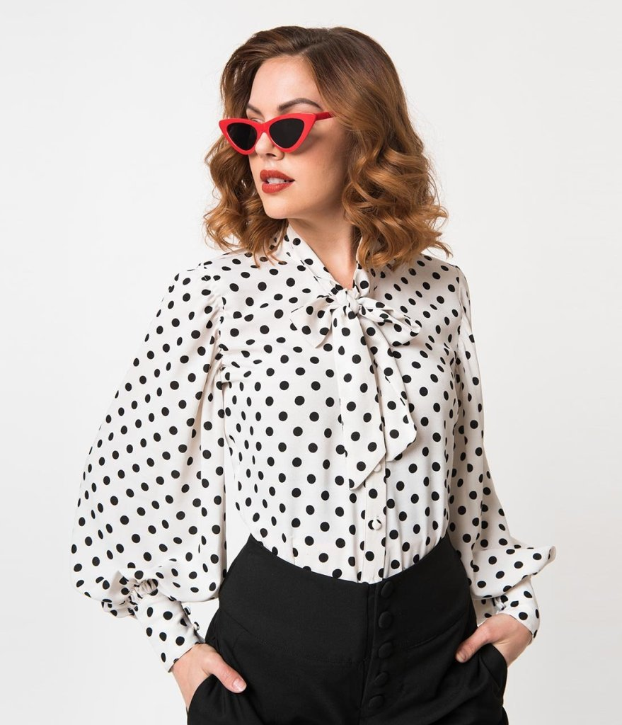 lady wearing polka dots vintage shirt