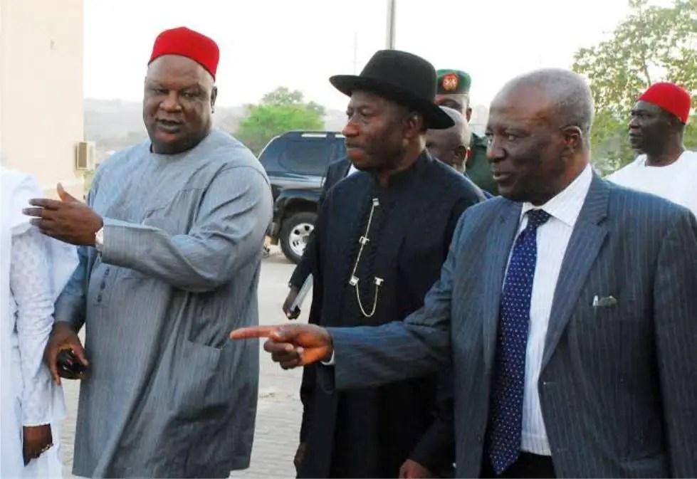Senator Anyim and Goodluck Jonathan rocking senator wears