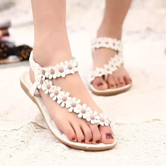 close up of flat sandals