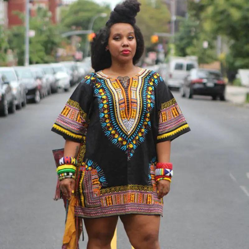fine lady rocking dashiki top as short gown