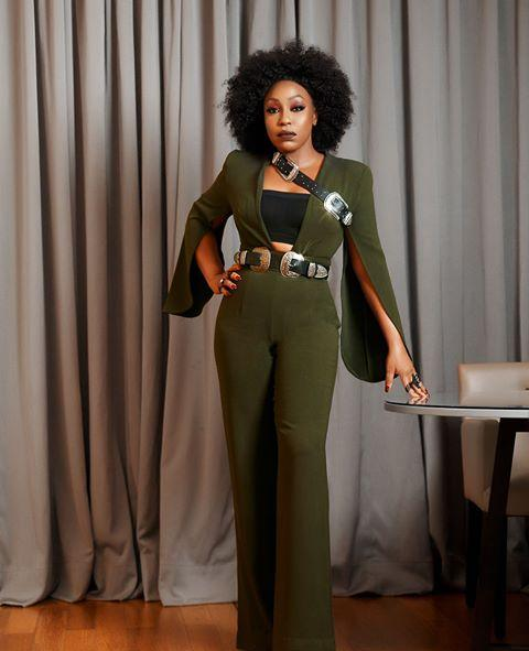 Rita Dominic in green outfit
