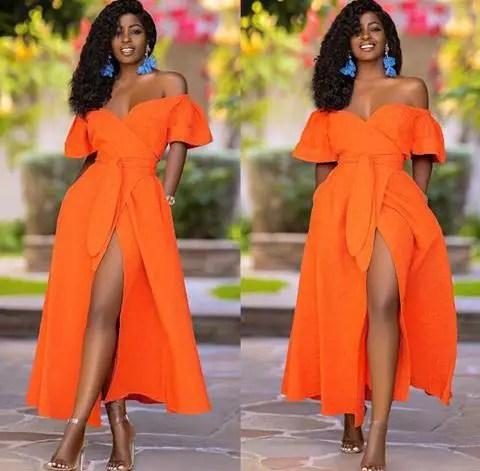 Folake Kuye Hutoon in an orange dress