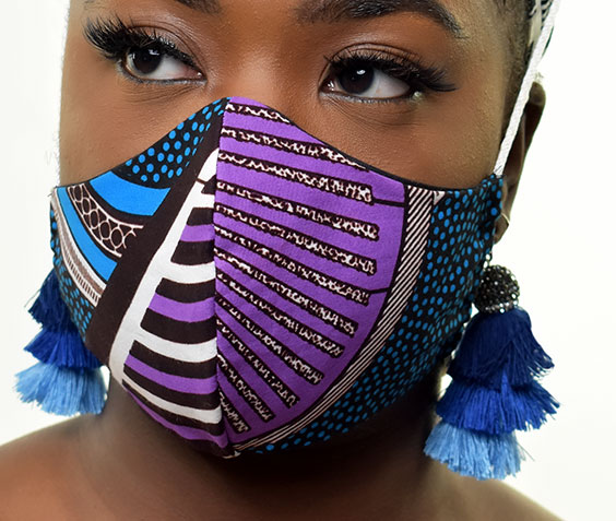 lady wearing cloth face mask