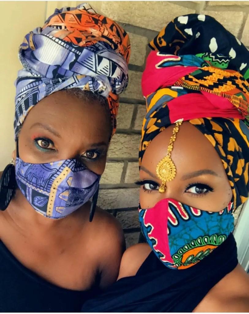 two ladies wearing ankara face masks
