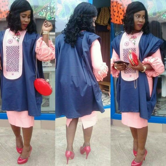 lady rocking agbada with skirt